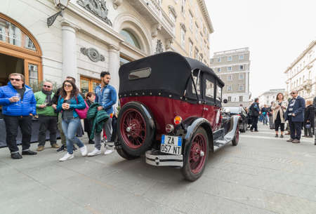 regularity: TRIESTE, ITALY - APRIL 3: Photo of a vintage classic cars on the Trieste Opicina Historic. APRIL 3, 2016. Trieste Opicina Historic regularity is run for Vintage and Classic Cars. Editorial