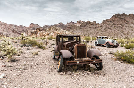 abandoned car: NELSON , USA - JUNE 10 : Rusty old vintage car abandoned in   Nelson Nevada ghost town on June 10 ,2015 Editorial