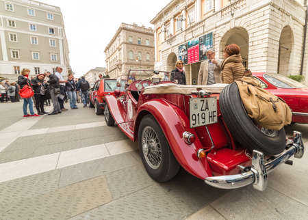 speedster: TRIESTE, ITALY - APRIL 3: Photo of a rare British MG model on the Trieste Opicina Historic. APRIL 3, 2016. Trieste Opicina Historic regularity is run for Vintage and Classic Cars.