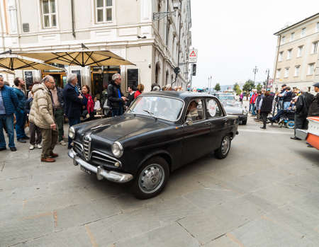 museum rally: TRIESTE, ITALY - APRIL 3: Photo of a First Alfa Romeo Giulietta model on the Trieste Opicina Historic. APRIL 3, 2016. Trieste Opicina Historic regularity is run for Vintage and Classic Cars.