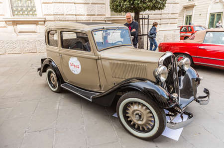 regularity: TRIESTE, ITALY - APRIL 3: Fiat Balilla on APRIL 3, 2016. Trieste Opicina Historic regularity is run for Vintage and Classic Cars.