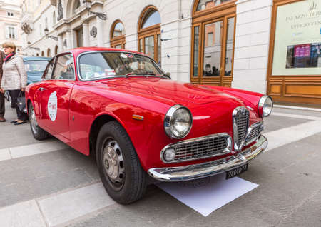 museum rally: TRIESTE, ITALY - APRIL 3: Photo of a rare Alfa Romeo Giulietta Sprint model on the Trieste Opicina Historic. APRIL 3, 2016. Trieste Opicina Historic regularity is run for Vintage and Classic Cars.