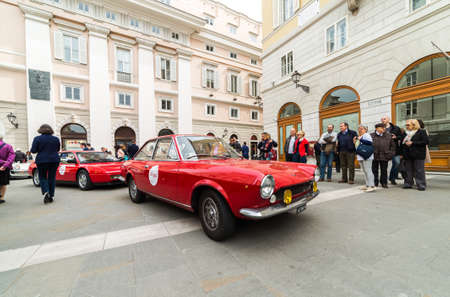 regularity: TRIESTE, ITALY - APRIL 3: Photo of Fiat 124 Sport Coupe on the Trieste Opicina Historic. APRIL 3, 2016. Trieste Opicina Historic regularity is run for Vintage and Classic Cars.