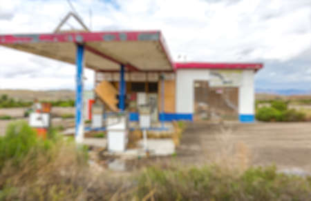 abandoned gas station: Blurred abandoned gas station for refueling