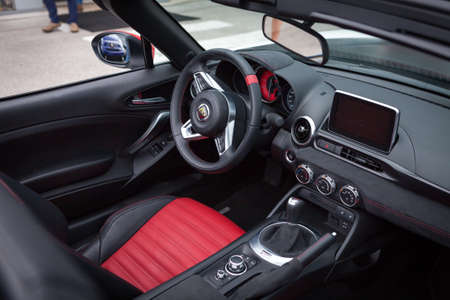kw: Udine, July 13 2016: Abarth 124 Spider Prototype MultiAir 1.4 engine has 170 PS (125 kW; 168 hp) with top speed of 232 km  h (144 mph) and 0-100 km  h of 6.8 seconds, only weight 1,060 kg (2,337 lb)