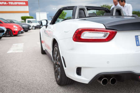 pirelli: Udine, July 13 2016: Abarth 124 Spider Prototype MultiAir 1.4 engine has 170 PS (125 kW; 168 hp) with top speed of 232 km  h (144 mph) and 0-100 km  h of 6.8 seconds, only weight 1,060 kg (2,337 lb)