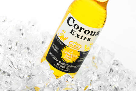Trieste, Italy - June 23, 2016: Corona Extra is one of the top-selling beers worldwide is a pale lager produced by Cerveceria Modelo in Mexico. Editorial