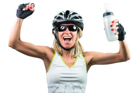 Excited cyclist enjoying the win. Concept Winning in sports. Isolated on white background