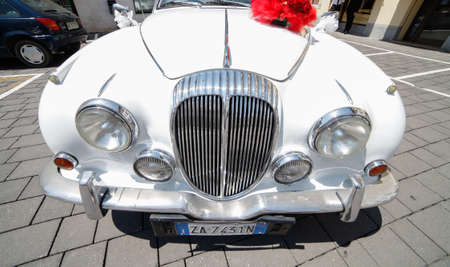 daimler: Udine,Italy 9 July 2016:The Daimler 2.5V8 was a 4 door produced in Coventry, England by Daimler.Launched late in 1962.It was essentially a rebadged Jaguar Mark 2 fitted with Daimlers 2.5tl V8 engine. Editorial