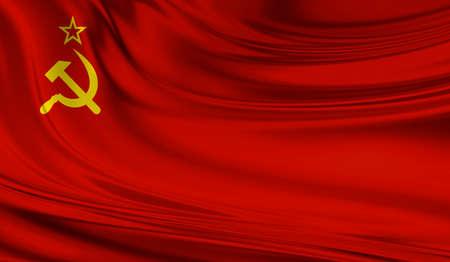 National waving flag of Union of Soviet Socialist Republics USSR on a silk drape Stock Photo