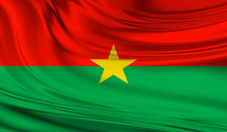 National waving flag of Burkina Faso on a silk drape