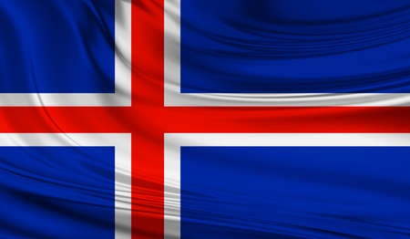 National waving flag of Iceland on a silk drape