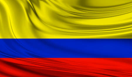 National waving flag of Colombia on a silk drape