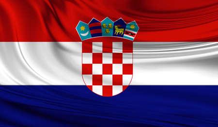 la union hace la fuerza: National waving flag of Croatia on a silk drape Foto de archivo