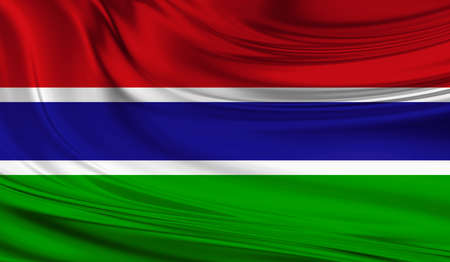 gambia: National waving flag of Gambia on a silk drape