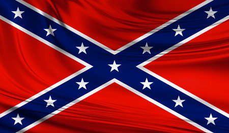 National waving flag of he Confederate States of America on a silk drape. Use of Confederate flag has under some controversy