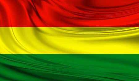 Bandera nacional de Bolivia en una cortina de seda