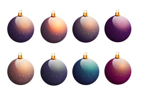 Set of colorful Christmas balls isolated on white background. Stock Photo
