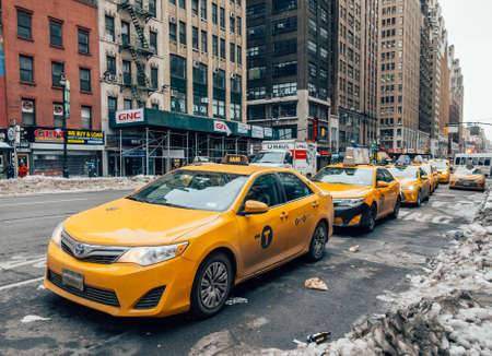 New York City - March 18, 2017: Yellow taxi cab in New York City.