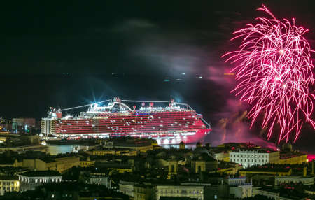 Trieste, Italy - November 30, 2017: Msc Seaside the biggest cruise ship produced in Italy. Official launch party in the port of Trieste with fireworks.