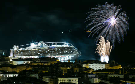 Trieste, Italy - November 30, 2017: Msc Seaside the biggest cruise ship produced in Italy. Official launch party in the port of Trieste with fireworks. Editorial