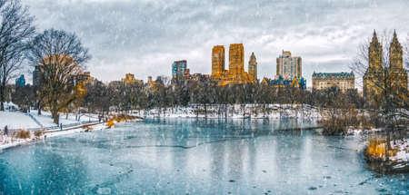Cidade nova iorque, parque central, em, neve