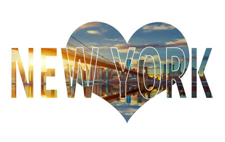 New York Word - Famous travel destination sign on white background. World Collage Concept