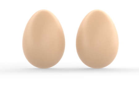 Two realistic eggs with soft shadows on white background. 3d render illustration