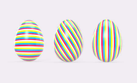 Easter eggs with soft shadows on white background. 3d render illustration