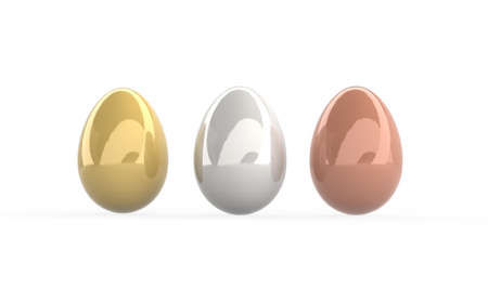 Tre realistic eggs yellow, silver and copper with soft shadows on white background. 3d render illustration
