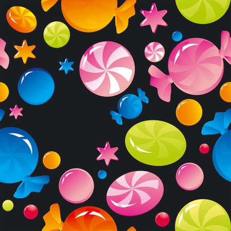 sweety: Seamless background with bright multi-coloured sweets and sugar candies
