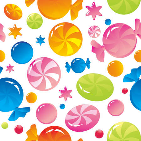 Seamless background with bright multi-coloured sweets and sugar candies Vector