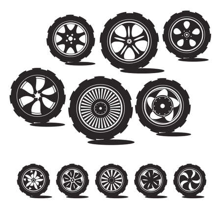 black  silhouette  automotive wheel with alloy wheels and tires  Vector