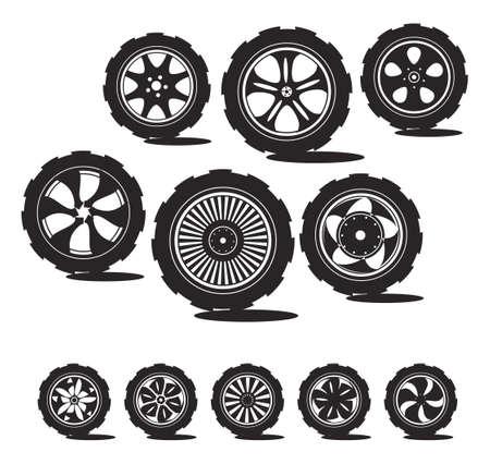 Schwarze Silhouette Automobil-Rad mit Leichtmetallrädern und Reifen Standard-Bild - 12741574