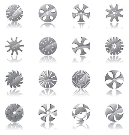 spare parts: a set of metallic disk-shaped  icon