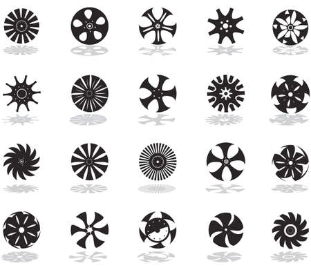 A set of black silhouettes of icons in the form of discs Stock Vector - 12741593