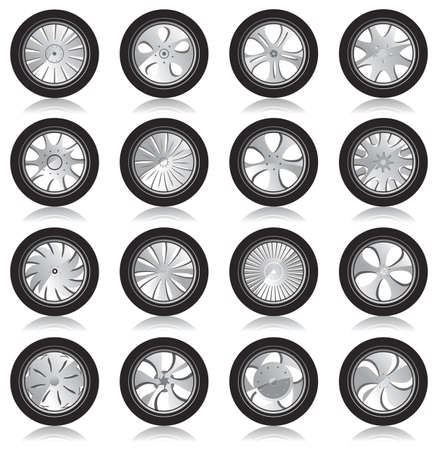 automotive wheel with alloy wheels and low profile tires  Stock Vector - 12741594