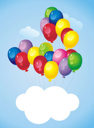 flying in the sky bright colorful balloons with a cloud - a place for text Stock Vector - 12741560