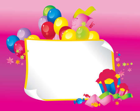 Bright Holiday composition of balloons, gift boxes, confetti,, sweets, serpentine, and a sheet of paper for your text congratulations Illusztráció