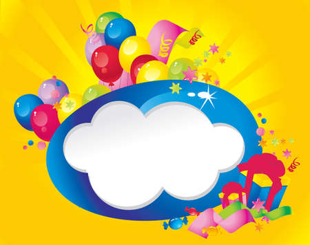 Bright Holiday composition of balloons, gift boxes, confetti,, sweets, Streamer and  Frame for your text congratulations