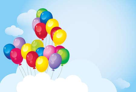 雲と空の明るいカラフルな風船で飛行  イラスト・ベクター素材