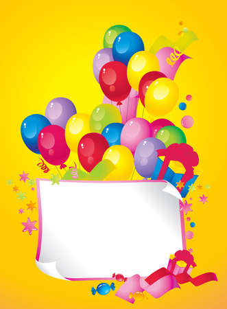 Bright Holiday composition of balloons, gift boxes, confetti,, sweets, serpentine, and a sheet of paper for your text congratulations Vector