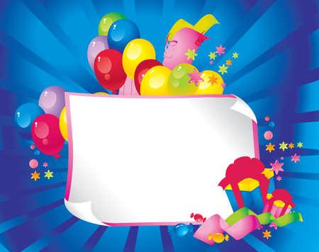 place for children: La composici�n de vacaciones brillante de globos, cajas de regalo, confeti, serpentinas, dulces, y una hoja de papel para su texto felicitaciones
