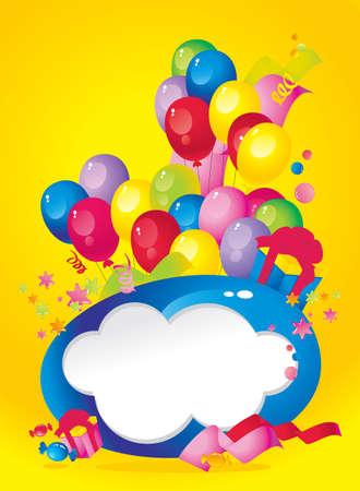 place for children: La composici�n de vacaciones brillante de globos, cajas de regalo, papel picado, dulces, serpentinas y marco para el texto felicitaciones Vectores