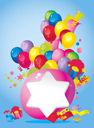 Bright Holiday composition of balloons, gift boxes, confetti,, sweets, Streamer and  Frame for your text congratulations Vector