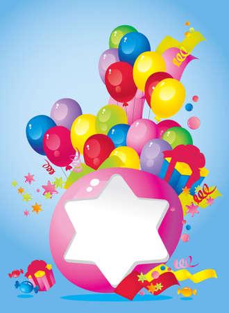 place for children: La composici�n de vacaciones brillante de globos, cajas de regalo, confeti, serpentinas, dulces, y un marco para el texto de felicitaci�n Vectores