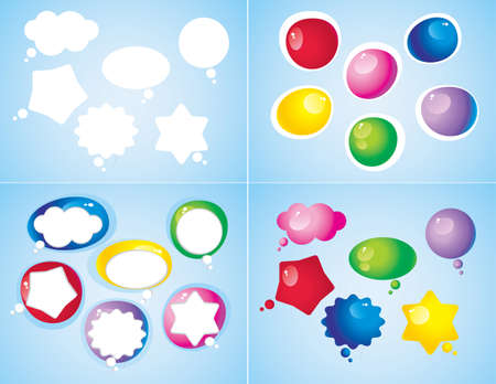 a set of colorful glossy icons of different shape Vector