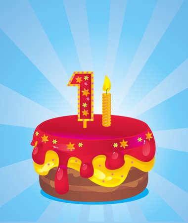 one year old: torta de cumplea�os con velas de colores helado