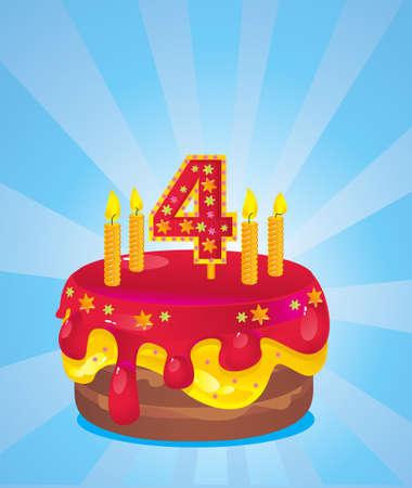 kleurrijke verjaardag bevroren cake met kaarsen