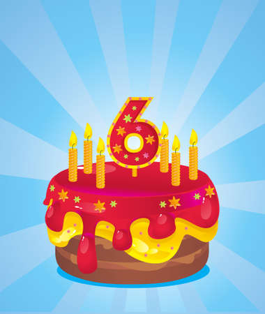 colorful  iced birthday cake with candles Vector